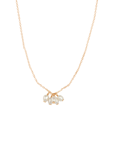 Bianc Cluster Drop Pendant Necklace w/ Freshwater Pearl - Gold - Mocha