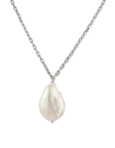 Bianc Carribean Necklace w/ Freshwater Pearl - Silver - Mocha