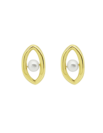 Ichu Oval'D Pearl Stud Earrings - Gold - Mocha