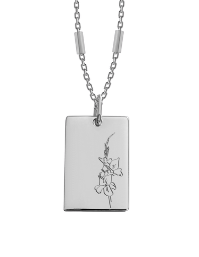 Bianko Birth Flower Necklace August (Gladiola) - Silver - Mocha