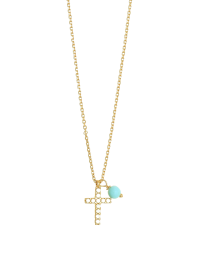 Gregio Tiny Shiny Cross Necklace w/ White Zirconia - Gold - Mocha