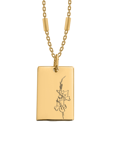 Bianko Birth Flower Necklace August (Gladiola) - Gold - Mocha