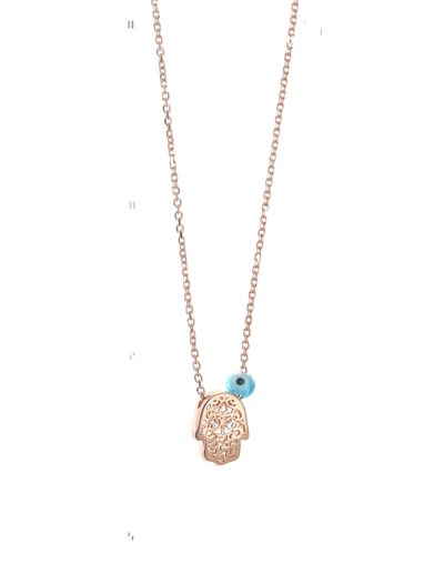 Gregio Tiny Shiny Hamsa Necklace w/ Evil Eye - Gold - Mocha