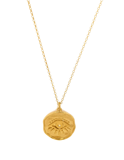 Gregio Symbolic Necklace w/ Evil Eye Pendant - Gold - Mocha