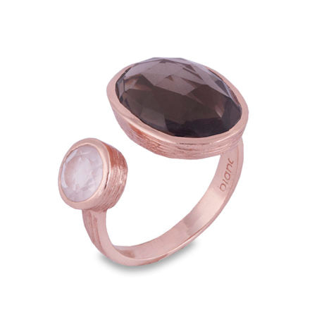 BIANC LUMIERE + LUSTRE ROSE GOLD SMOKEY QUARTZ AND ROSE QUARTZ SPLIT RING - Mocha