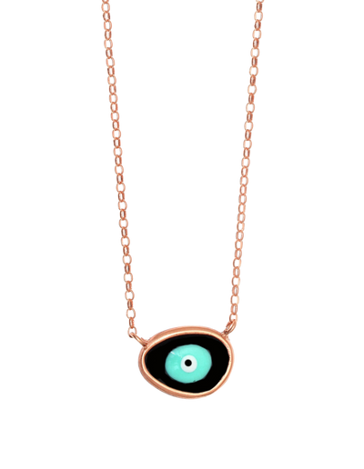 Gregio Lucky Day Necklace w/ Enamel Evil Eye - Rose Gold - Mocha