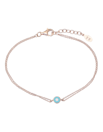 Gregio Lucky Day Bracelet w/ Teal Evil Eye - Rose Gold - Mocha