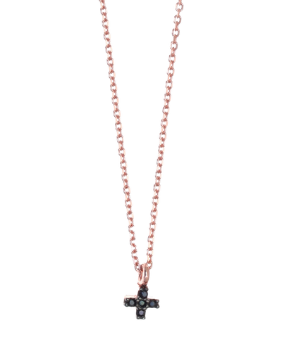 Gregio Tiny Shiny Mini Cross Necklace w/ Black Zirconia - Rose Gold - Mocha