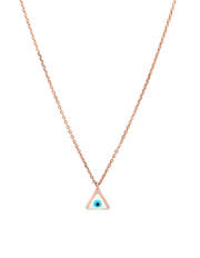 Gregio Lucky Day Necklace w/ Triangle Evil Eye - Rose Gold - Mocha