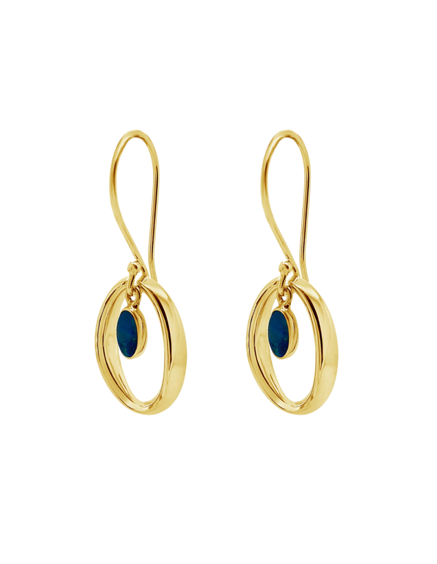 Ichu Halo'D Opal Earrings - Gold - Mocha