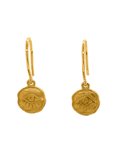 Gregio Symbolic Drop Earrings w/ Sun Charm - Gold - Mocha