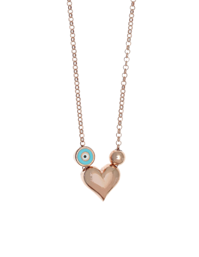 Gregio Tiny Shiny Heart Necklace w/ Evil Eye - Rose Gold - Mocha