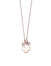 Gregio Tiny Shiny Clover Necklace w/ White Zirconia - Rose Gold - Mocha