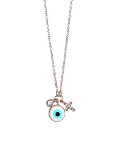 Gregio Tiny Shiny Evil Eye Necklace w/ Cross - Rose Gold - Mocha