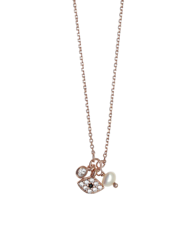 Gregio Tiny Shiny Evil Eye Necklace w/ White Zirconia - Rose Gold - Mocha