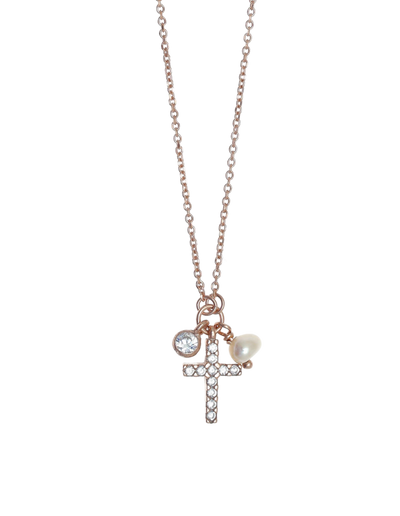 Gregio Tiny Shiny Cross Necklace w/ Pearl & White Zirconia - Rose Gold - Mocha