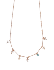 Gregio Tiny Shiny Cross Necklace w/ White Zirconia - Rose Gold - Mocha