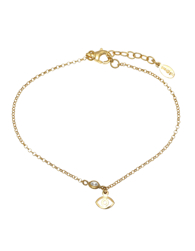 Gregio Tiny Shiny Evil Eye Bracelet w/ White Zirconia - Gold - Mocha