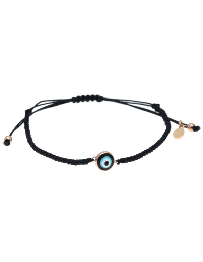 Gregio Lucky Day Rope Bracelet w/ Enamel Evil Eye - Rose Gold - Mocha