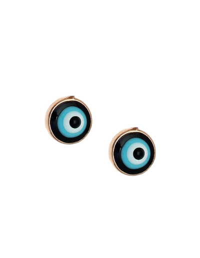 Gregio Lucky Day Stud Earrings w/ Enamel Evil Eye - Rose Gold - Mocha