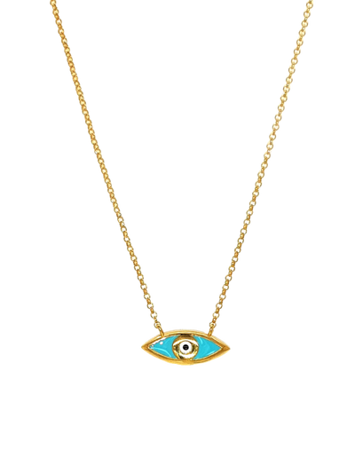 Gregio Lucky Day Necklace w/ Enamel Evil Eye - Gold - Mocha