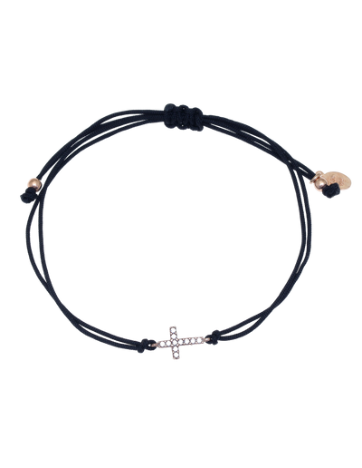 Gregio Tiny Shiny Rope Bracelet w/ Cross - Rose Gold - Mocha