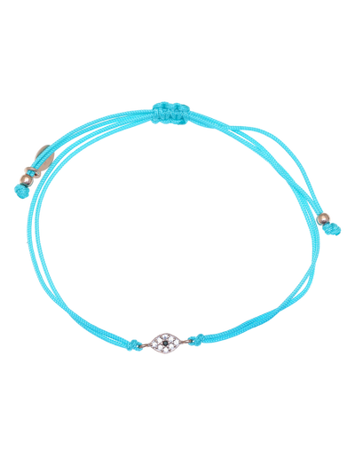Gregio Tiny Shiny Rope Bracelet w/ Evil Eye - Teal/Rose Gold - Mocha