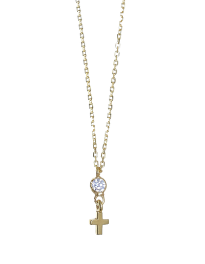 Gregio Tiny Shiny Necklace w/ Cross Pendant - Gold - Mocha