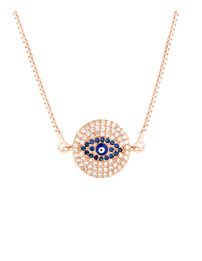 Mocha Evil Eye Round Necklace - Rose Gold - Mocha