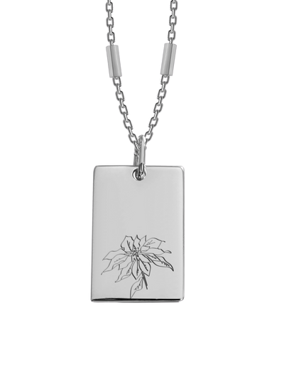 Bianko Birth Flower Necklace December (Poinsettia) - Silver - Mocha