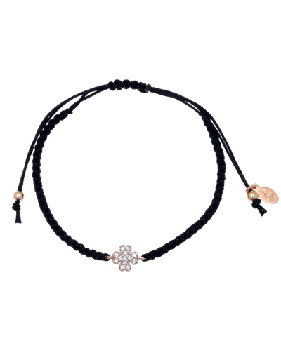 Gregio Tiny Shiny Clover Rope Bracelet w/ White Zirconia - Rose Gold - Mocha