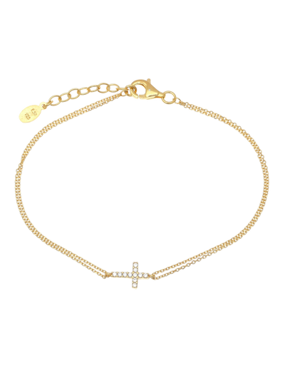 Gregio Tiny Shiny Cross Bracelet w/ White Zirconia - Gold - Mocha
