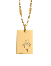Bianko Birth Flower Necklace February (Iris) - Gold - Mocha