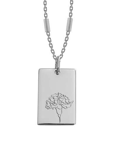 Bianko Birth Flower Necklace January (Carnation) - Silver - Mocha