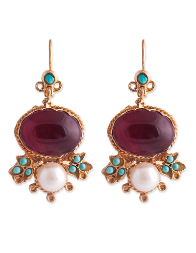 Bianc Bella Earrings w/ Glass Pearl - Mocha