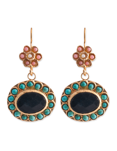 Bianc Boheme Olivia Earrings w/ Turquoise - Mocha