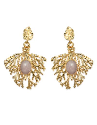Bianc Arya Earrings w/ Rose Quartz - Mocha