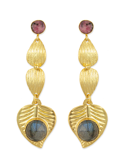 Bianc Marilyn Earrings w/ Rhodonite & Labradorite - Mocha