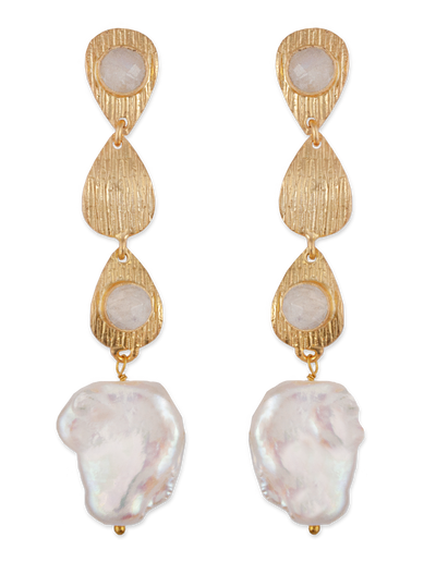 Bianc Skylar Earrings w/ Moonstone & Freshwater Pearl