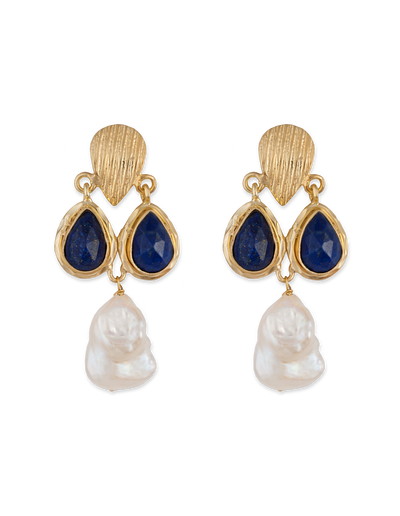 Bianc Imogen Earrings w/ Lapis & Freshwater Pearl