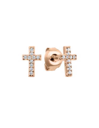 Georgini Baby Cross Earrings w/ CZ - Rose Gold - Mocha