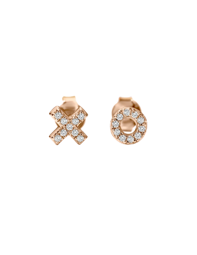 Georgini Kiss Hug Stud Earrings - Rose Gold - Mocha