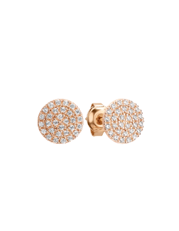 Georgini Pavo Stud Earrings - Rose Gold - Mocha