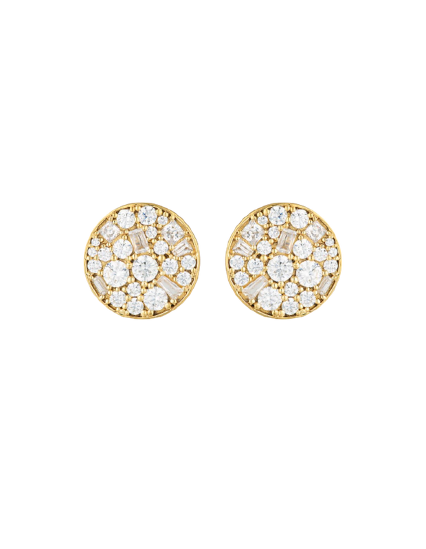 Georgini Mosaic Disc Stud Earrings - Gold - Mocha
