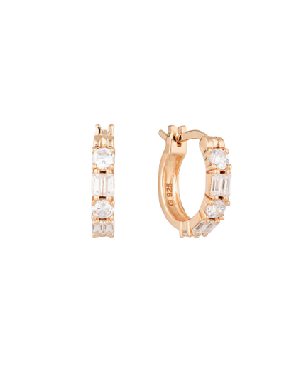 Georgini Irina Small Hoop Earrings w/ CZ - Rose Gold - Mocha