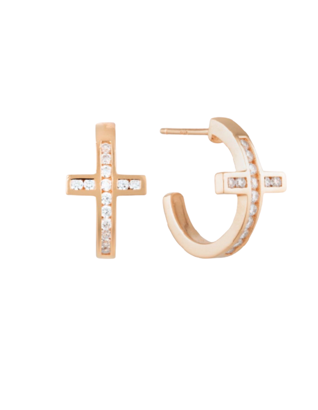 Georgini Spiritus Cross Hoop Earrings - Rose Gold - Mocha