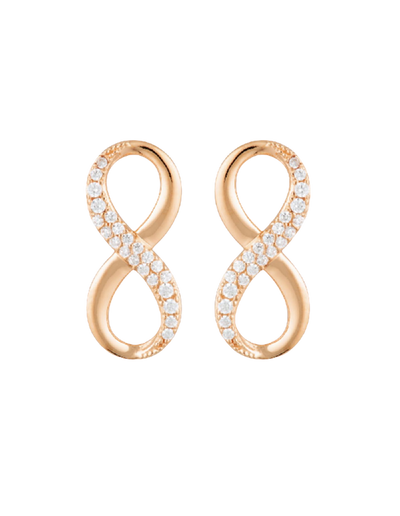 Georgini Forever Infinity Earrings w/ CZ - Rose Gold - Mocha