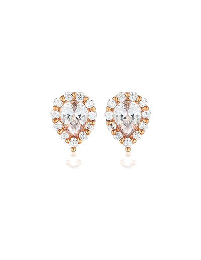 Georgini Monaco Stud Earrings - Rose Gold - Mocha