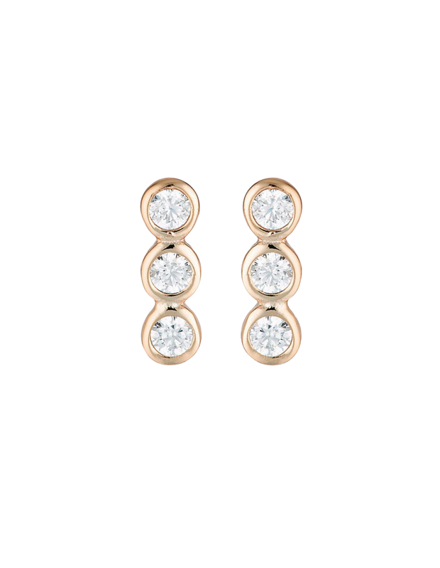Georgini Trio Stud Earrings - Rose Gold - Mocha