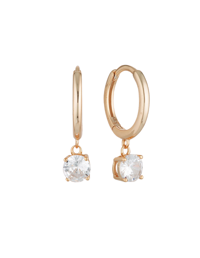 Georgini Bria Hoop Earrings w/ CZ - Rose Gold - Mocha
